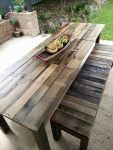 Recycled Timber Dining Table in a Grey Wash with matching bench seats