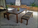 Recycled timber dining tables and bench seats.