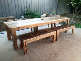 Large 3m Recycled Timber Slated Dining Table and optional bench seats from Upcycled Wood Designs.