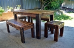 Rustic dining table with end bench seats