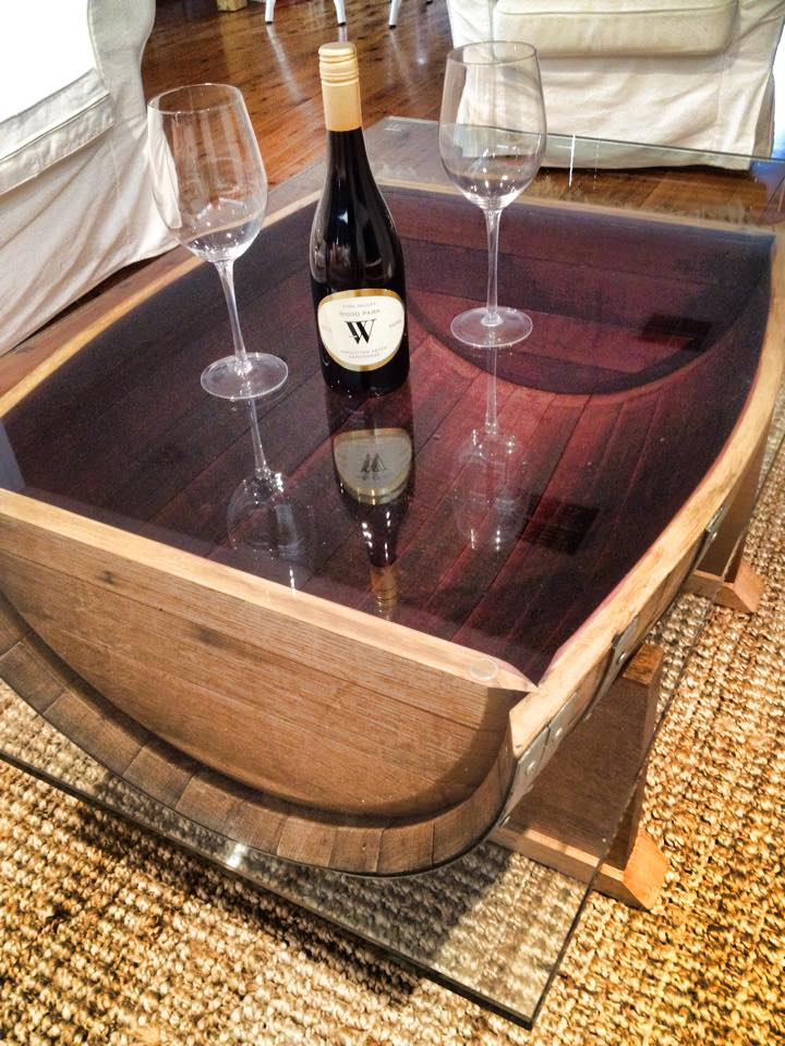 Wine barrel coffee table glass top 3 upcycled wood designs Wood coffee table glass top