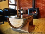 Upcycled Wood Designs Wine Barrel Glass Coffee Table