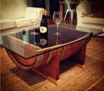 Wine Barrel Coffee Table Glass Top