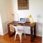 Rustic timber hoop leg desk made from recycled timber